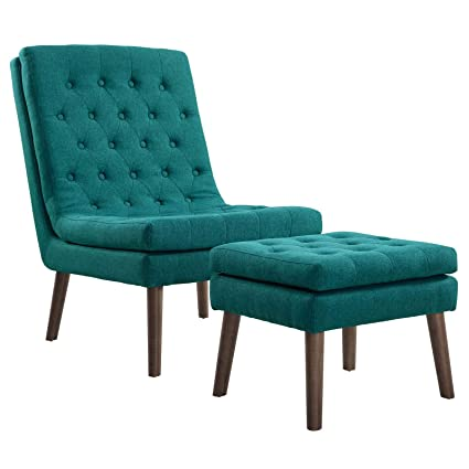 Pleasant Modway Modify Tufted Modern Lounge Accent Chair And Ottoman Set In Teal Machost Co Dining Chair Design Ideas Machostcouk