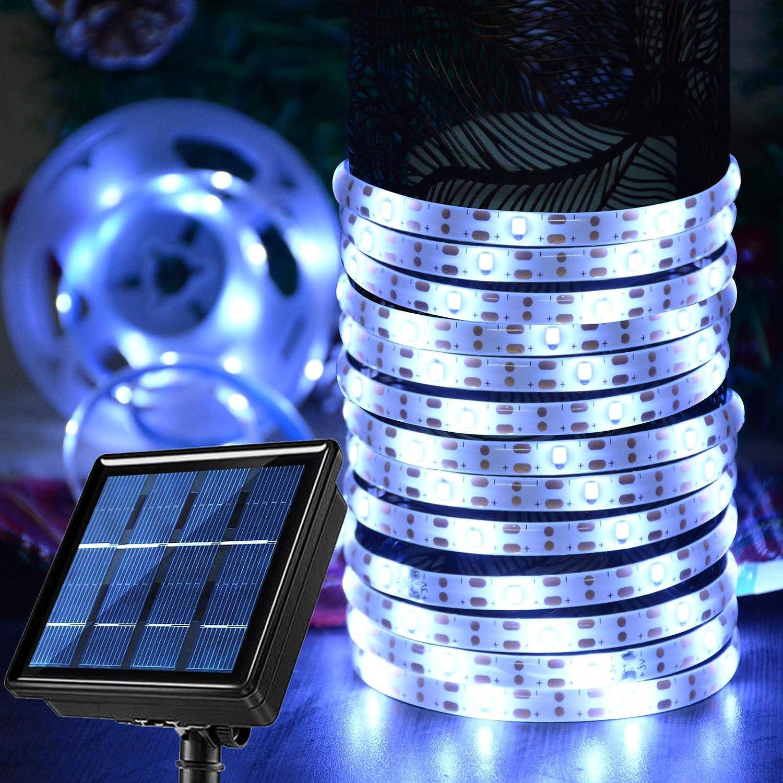 Windpnn Solar Led Strip Lights White, Waterproof Flexible Tape 180 LEDs Light 19.8Ft 8 Modes Self-Adhesive Cuttable Outdoor Light Strips for Pergola Steps Patio Garden Porch Decor