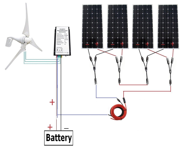 400 Watt Wind Turbine Generator With 4pc 160w Marine Solar Panel Wiring Diagram Monocrystalline Off Grid Kit For 24 Volt Battery Charging Home Improvement