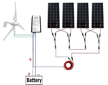 400 Watt Wind Turbine Generator with 4pc 160W Monocrystalline Solar Off Grid V Wiring Diagram on
