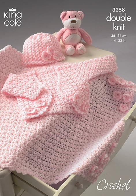 King Cole Baby Bolero Hat Pram Blanket Dk Crochet Pattern 3258 By