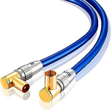 Cable de antena IBRA HDTV de 7,5 m | Cable de antena de TV con conectores en ángulo recto 90 grados | Premium Freeview coaxial | Conectores en ángulo ...