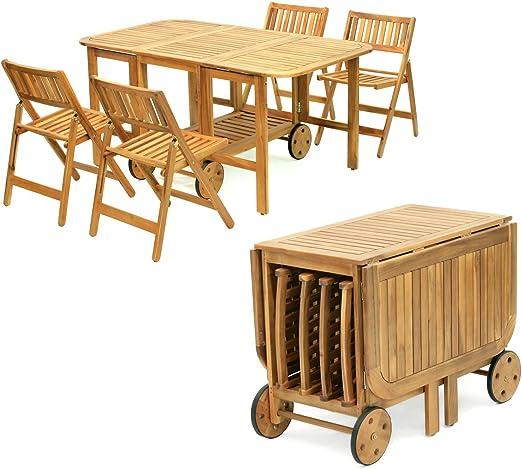Tavolo Legno Richiudibile Con Sedie.Yellowshop Set Tavolo Con 4 Sedie Richiudibile Salvaspazio In