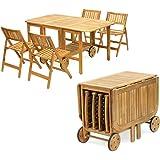 Yellowshop - Set Completo Tavolo In Legno Pieghievole Trasportabile Con 4 Sedie Richiubili Da Giardino Salvaspazio Esterno Piscina Relax