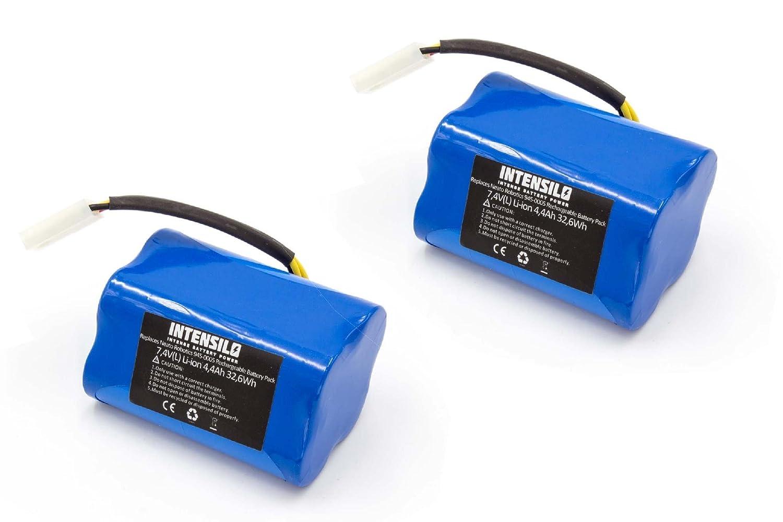 INTENSILO 2x Batterie Li-Ion 4400mAh XV Signature Pro 205-0001 VHBW4251358542964 XV-11 945-0006 aspirateur m/é nager Neato XV Signature XV-12 comme 945-0005 7.4V