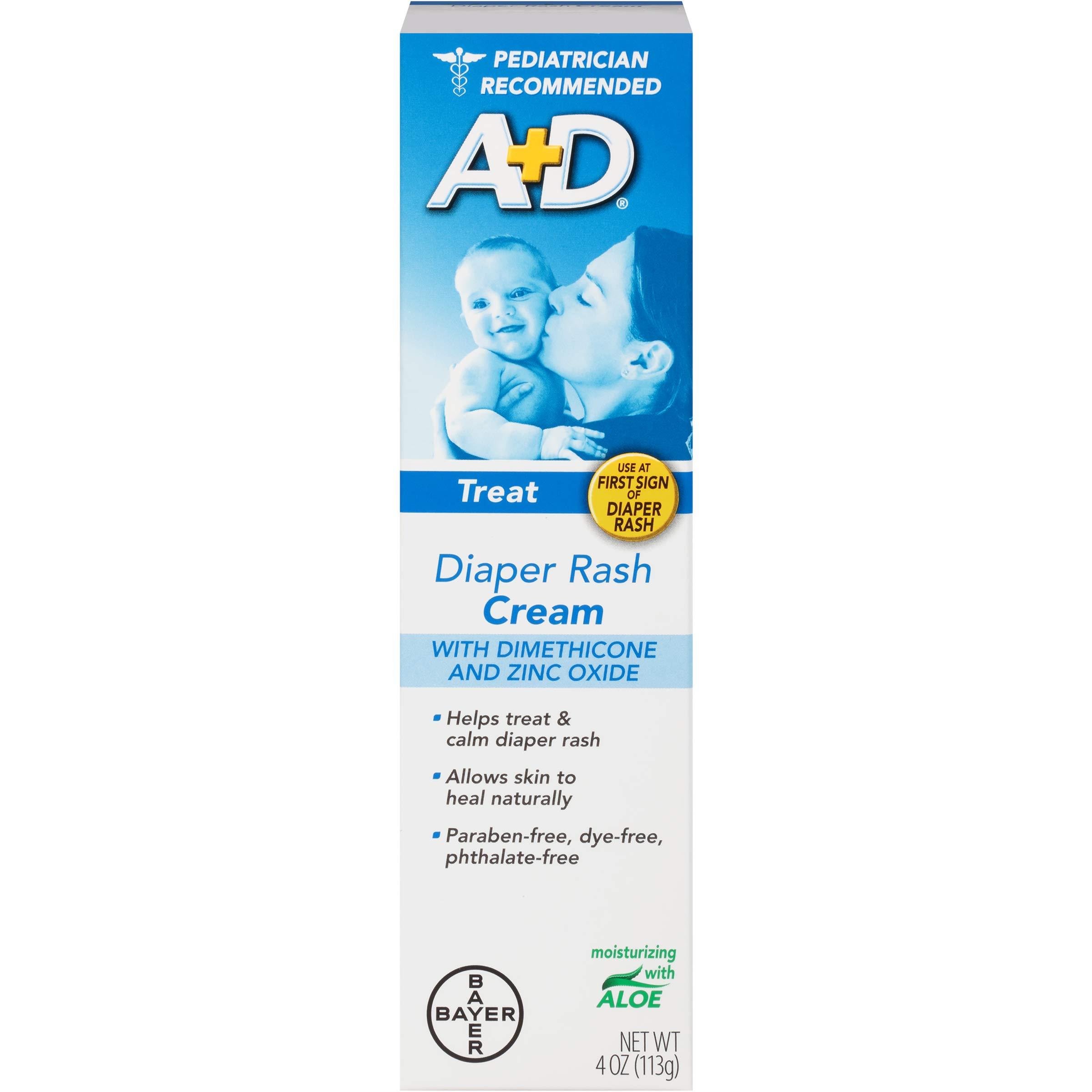 A+D Zinc Oxide Diaper Rash Cream with Aloe 4 oz (Pack of 12) by A&D
