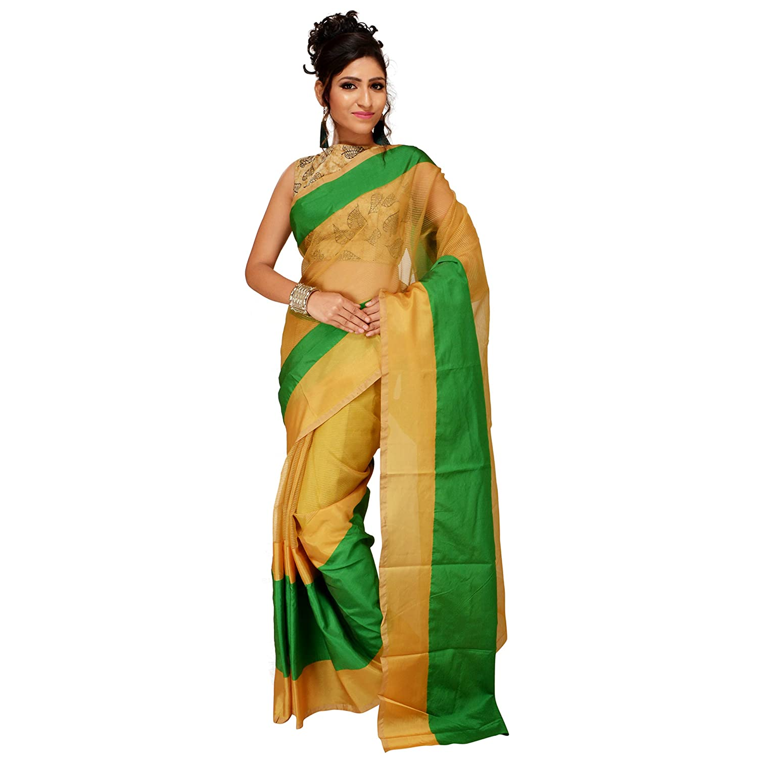 383e607160a Sarika Women s Solid Striped Daily Wear Silk Saree with Blouse Piece  (Beige