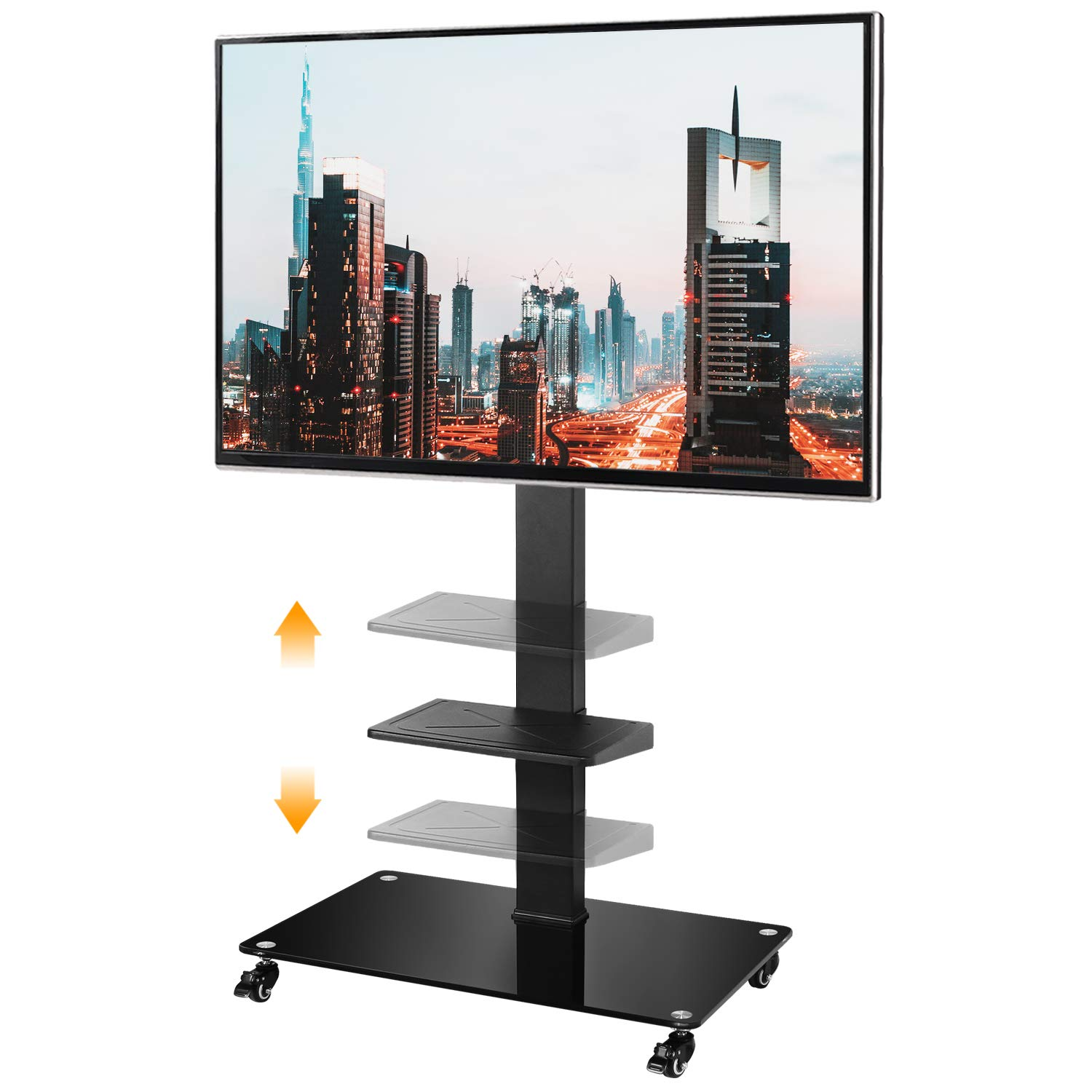 5Rcom Rolling TV Cart Mobile TV Stand with Lockable Caster Wheels and Shelves, for 32 37 42 46 50 55 60 65 inch TVs,Floor TV Stand with Height Adjustment/Swivel Mount