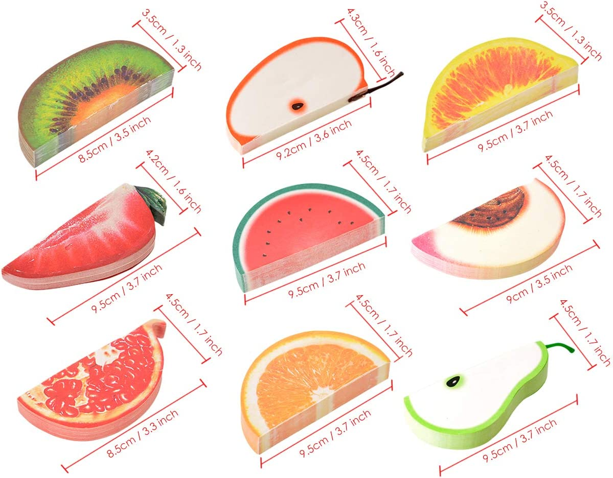 DS DISTINCTIVE STYLE 10 Styles 3D Fruit Shaped Portable Mini Notes Memo Scratch Pads Paper Notepads