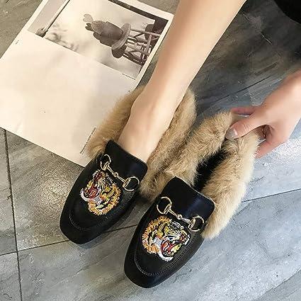 Bottes Calzado Casual de Invierno, Zapatos de Cuero Pequeños, Zapatos Bordados Planos de Moda