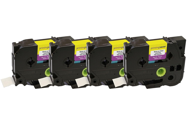 5 Compatibles TZe-141 TZ-141 18mm x 8m Negro sobre Transparente de Cintas para impresoras de Transparente etiquetas Brother P-Touch c8f086