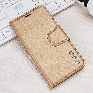 EUDTH Funda Xiaomi 6, Funda Cuero Estuche Libro Suave PU Leather Flip Carcasa Protección con Stand Funció para Xiaomi Mi 6 - Oro