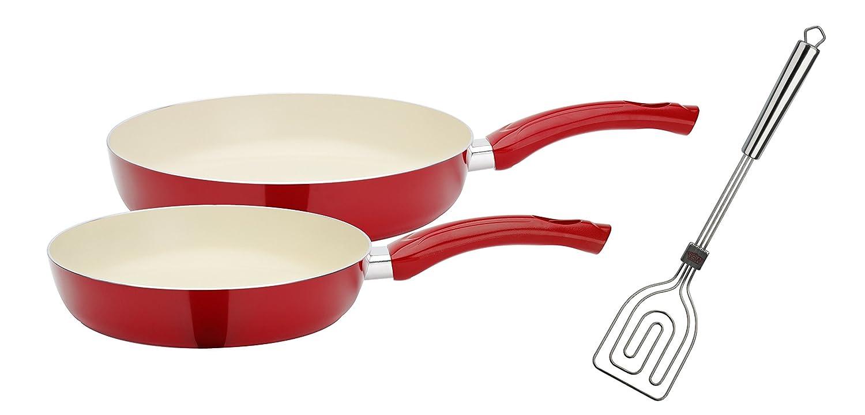 GSW 800341 Ceramica Beige - Juego de sartenes de 3 Piezas Incluye, Scala Todo Espátula, Aluminio, Color Rojo/Crema, 50,1 x 29,3 x 5,2 cm, ...