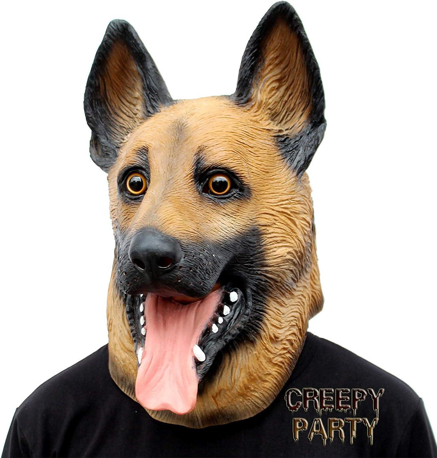 CreepyParty Máscara de Cabeza Animal de Látex de Fiesta de Halloween de Perros