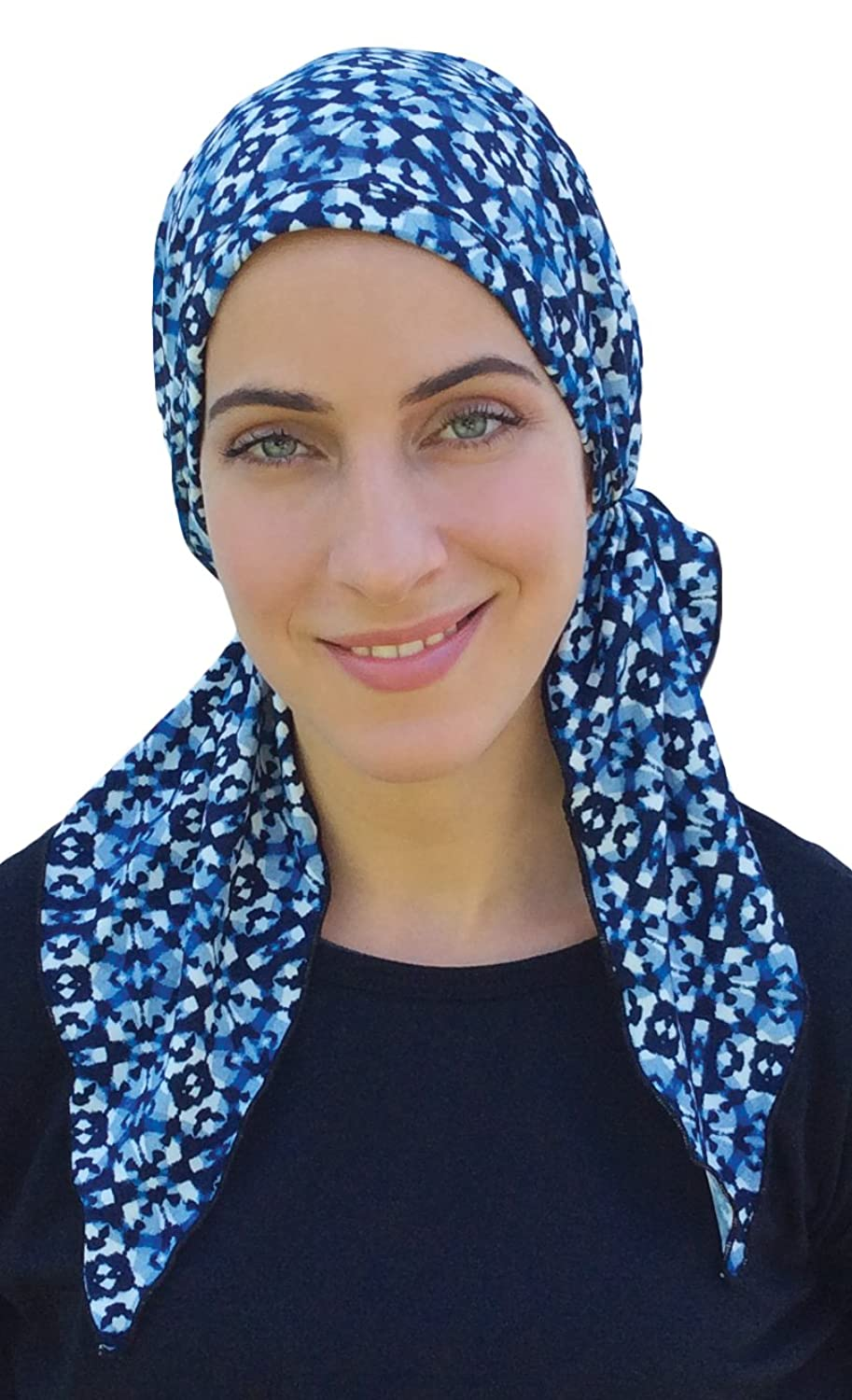 blue pre fitted bandana scarf chemo scarf