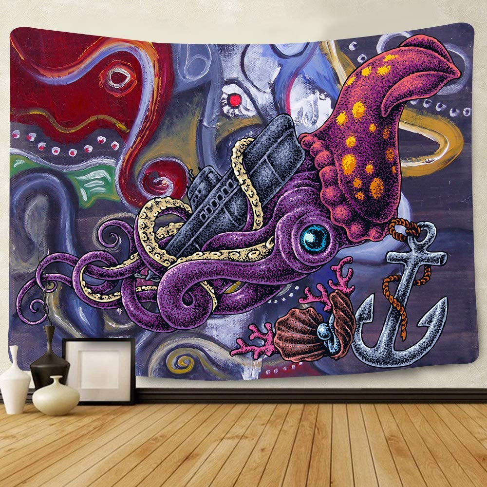 Simsant Octopus Tapestry North Sea Giant Monster Tapestry Psychedelic Monster Wall Hangings Deep Sea Theme Mural 80x60inch Oversized Tapestry for Bedroom Living Room Home Decor GTYYSI370