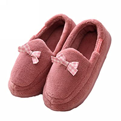 ACTLATI Soft-soled Women Home Shoes Bowknot Warm Plush Heel Cover Pregnant Anti-slip House Slippers