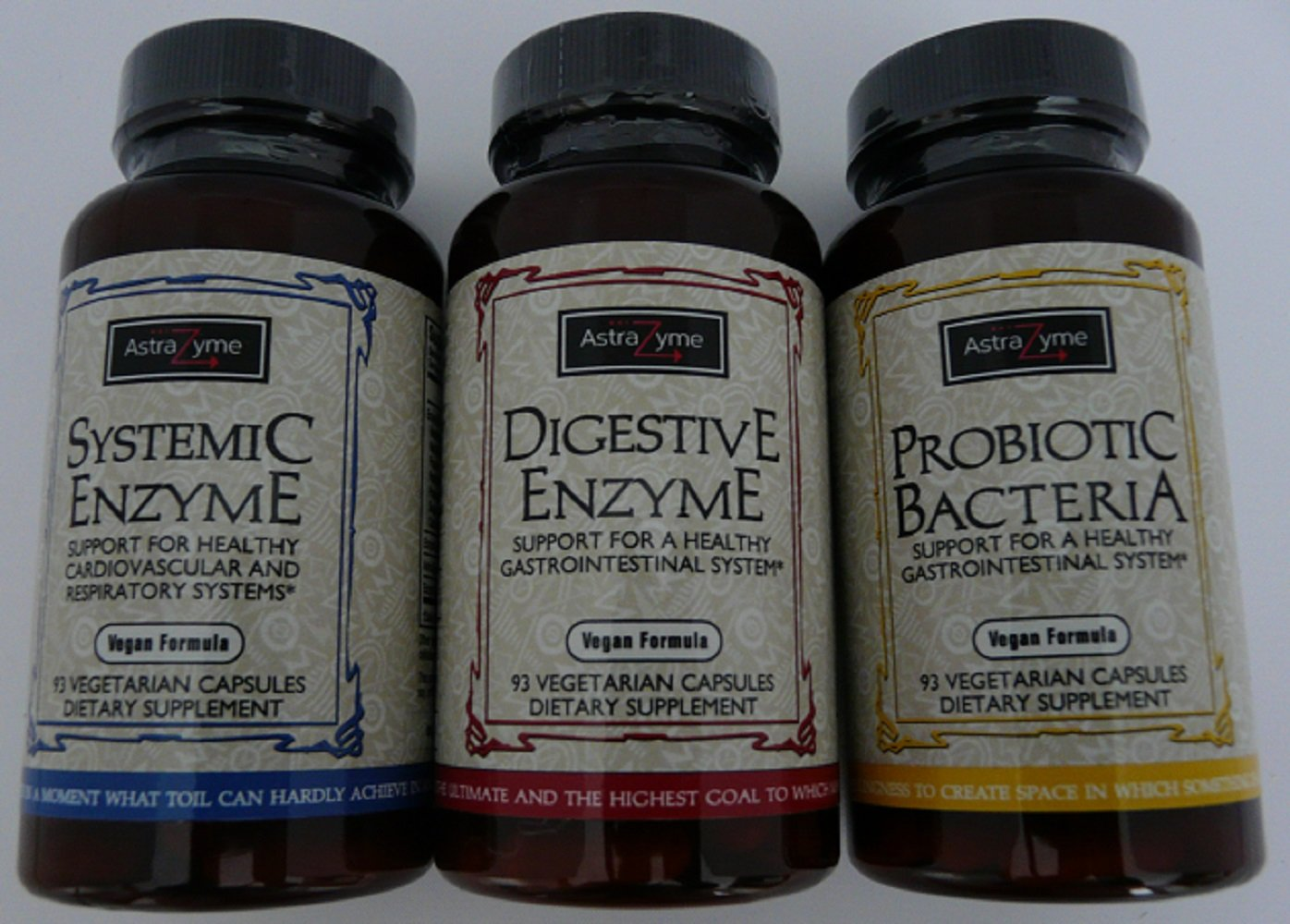 AstraZyme BEST Systemic Enzyme+Probiotics+Digestive Enzyme-3 Powerful Supplements-SALE-Vegan-Vegetarian-Gluten FREE-Plant Base-Natural-NO FILLER-Color-Flavor-Nut-Yeast-Dairy-Soy-Egg-Fish-PRESERVATIVE!