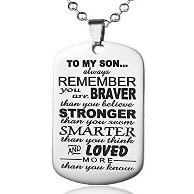 Amazon always remember to my son dog tag from dad mens boys amazon always remember to my son dog tag from dad mens boys necklace inspirational pendant jewelry gifts jewelry aloadofball Choice Image