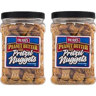 Herr's Peanut Butter Filled Pretzel Nuggets- 2 Value Size Bags or 2 Barrels (2- 24 oz. Canisters)