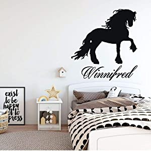 Friesian Decal | Horse Wall Decoration | Personalized Vinyl Decor for Girl Bedroom, Cabin, Ranch, Equestrian Center | Black, White, Pink, Purple, Blue, Brown, Red, Other Colors | Small, Large Sizes