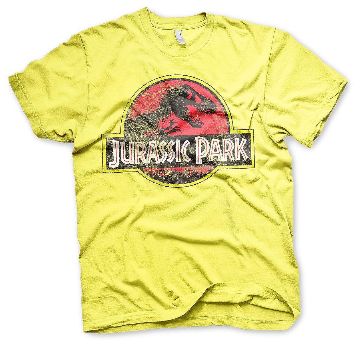 Jurassic Park Licenza Ufficiale Distressed Logo Uomo Maglietta Giallo