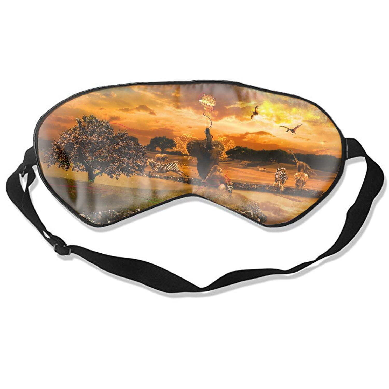 Vickyyoo Silk Sleep Mask Blindfold Eyeshade Fantasy Animal Savannah Breathable Soft Protect Eye Mask for Travelling, Sleeping, Relaxation, a, ydream on Plane