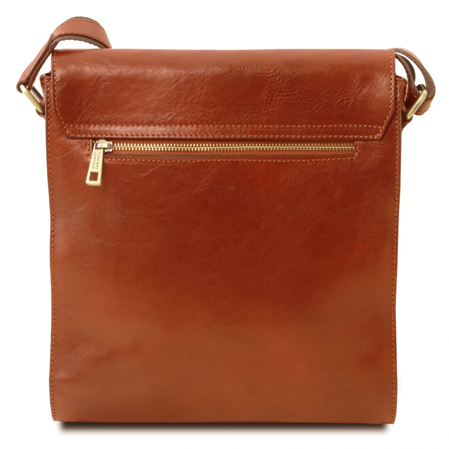 Tuscany Leather Oliver Leather crossbody bag for men with front pocket Honey by Tuscany Leather (Image #4)
