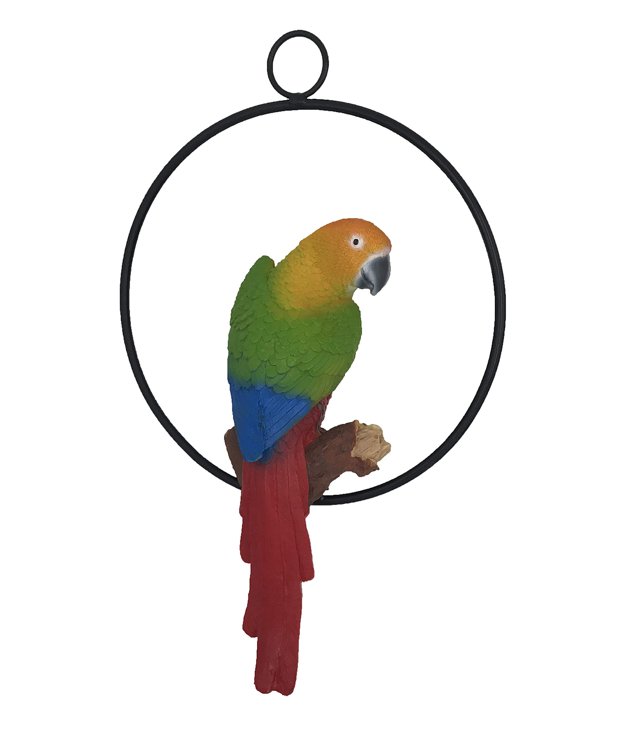 Hanging Parrot Statue Sculpture On Metal Round Ring Decor for Patio Garden Lawn and Nature Lovers Tropical Bird Collectors by Gifts