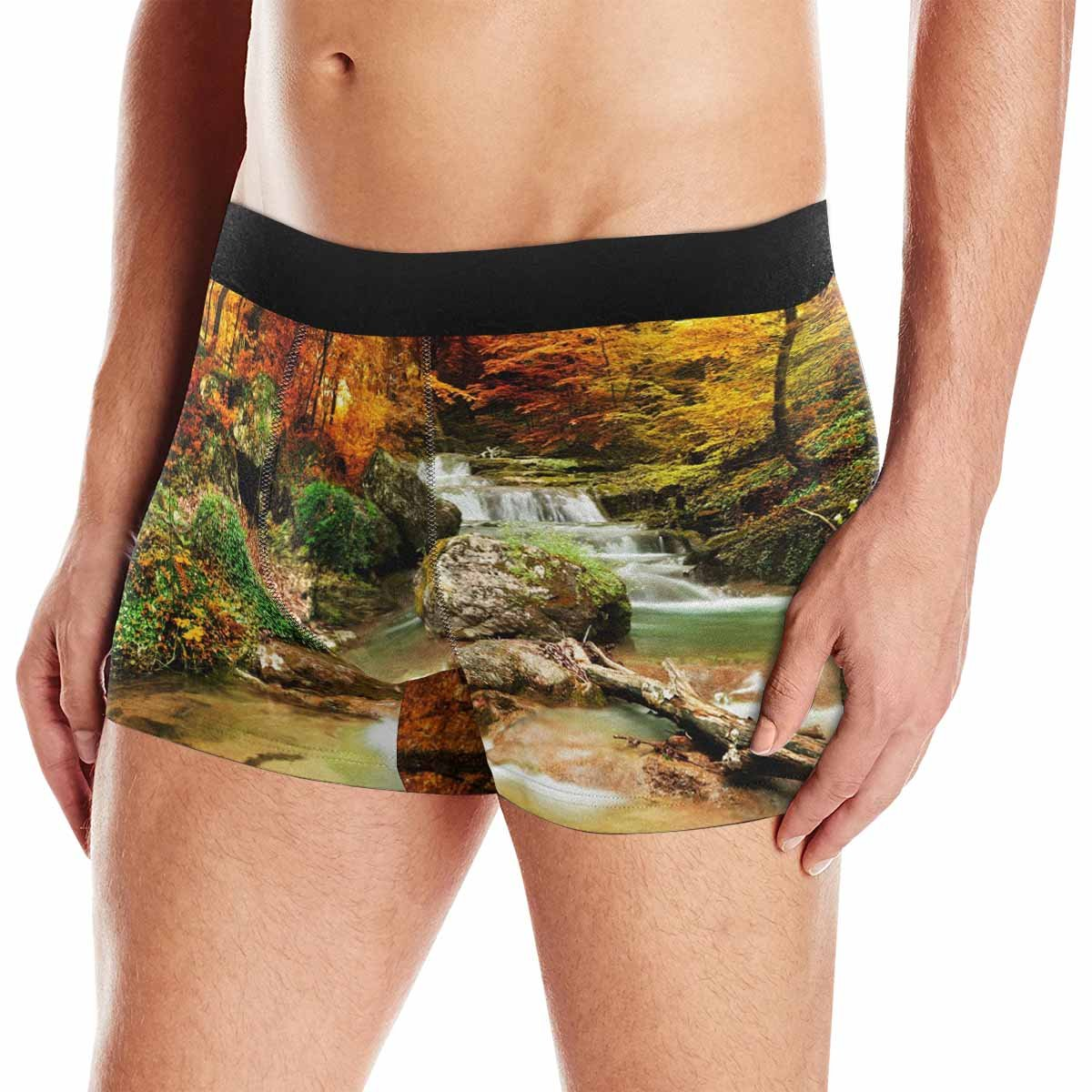 INTERESTPRINT Boxer Briefs Mens Underwear Autumn Creek Woods with Yellow Trees Foliage and Rocks in Forest Mountain XS-3XL