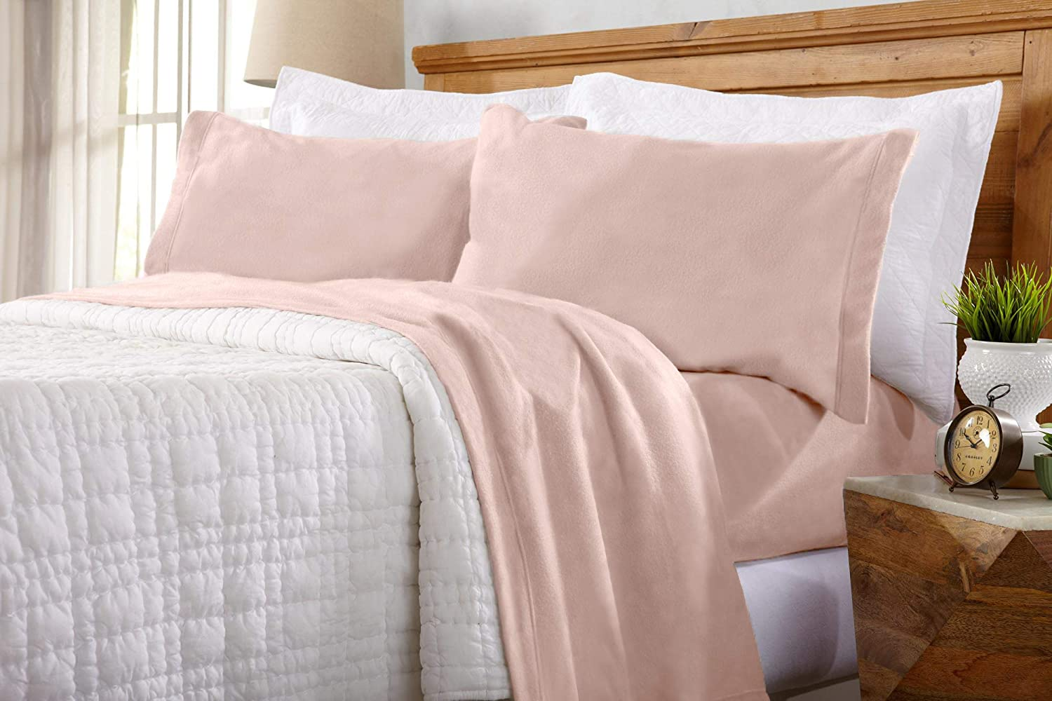 Home Fashion Designs Maya Collection Super Soft Extra Plush Fleece Sheet Set. Cozy, Warm, Durable, Smooth, Breathable Winter Sheets in Solid Colors (Full, Blush Pink)