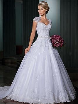 LUCKY-U Vestido de novia vestido de novia Lace Scoop Sin mangas Longitud del té