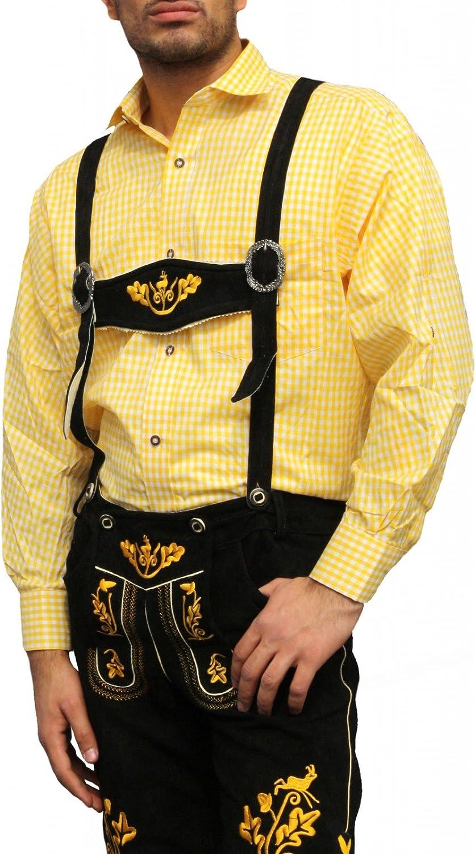 Fasching /& Karneval Trachtenhemd Kost/üme Trachtenmode Gelb kariert