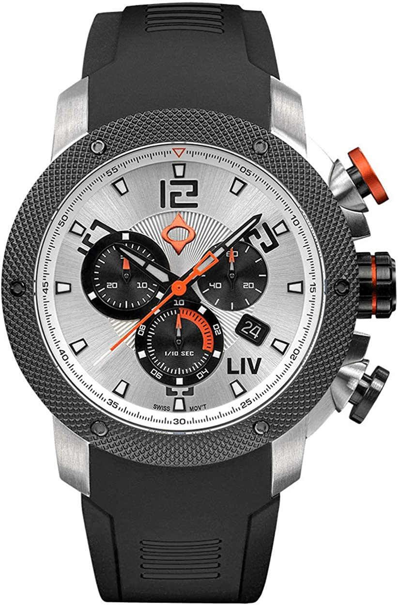 LIV GX1 Swiss Analog Display Chronograph Casual Watch for Men 45 mm Stainless Steel with Date Calendar 1000 feet Waterproof – The Panda