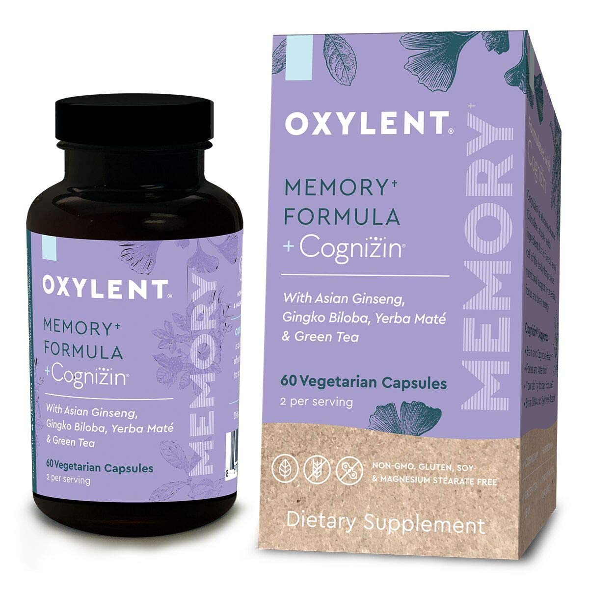 Oxylent Memory Formula Vegetarian Capsules – Delivers Natural Ingredients Citicoline, Yerba Mat , Ginseng Root, Gingko Biloba Green Tea Leaf to Support Cognitive Function Mental Clarity, 60 Count