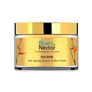 Blue Nectar Ayurvedic Anti Aging Face Cream Moisturer for Skin firming, Day and Night for all skin types with 14 Ayurvedic Herbs, Women, 50 gm