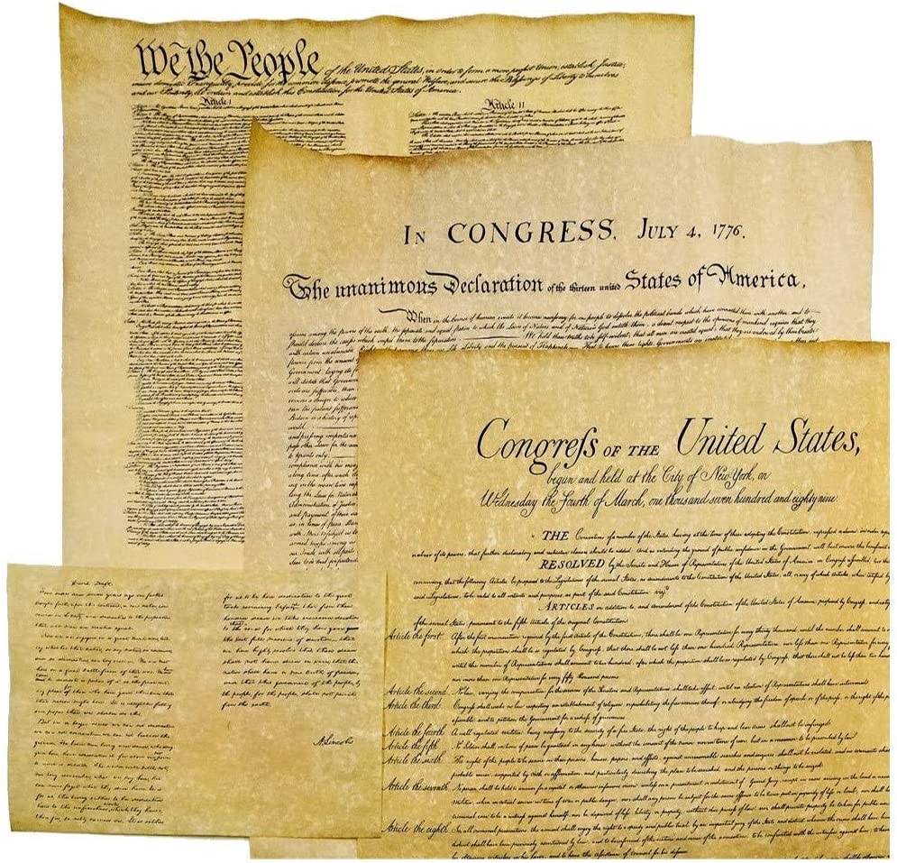 4 Antiqued Parchment Paper US Historical Documents - The Declaration of Independence, The US Constitution, The Bill of Rights, and the Gettysburg Address