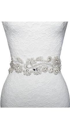 Vintage Wedding Dress Bridal Applique Sash Belt Rhinestone Crystal