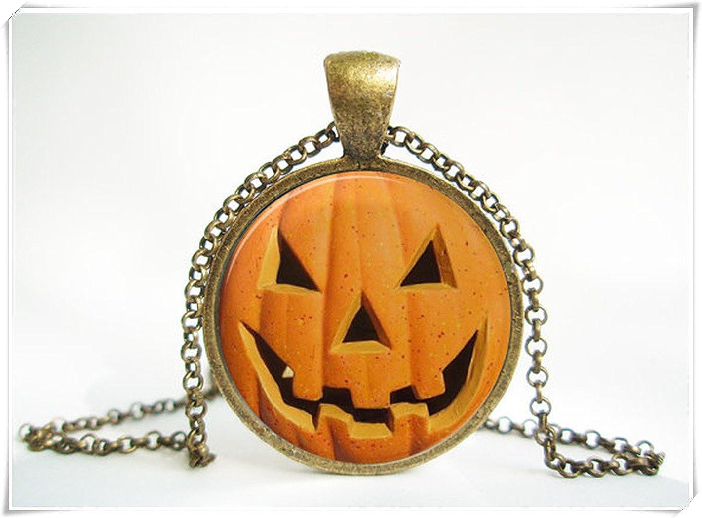Halloween Jack-o'-Lantern Pendant Necklace,Antique.Bronze ,Dome Glass Ornaments, Pure Handmade wish dandelion