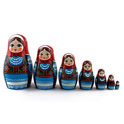 Matryoshka Polish National Dress Babushka Russian Nesting Wooden Stacking Doll 7 Pcs: Toys & Games