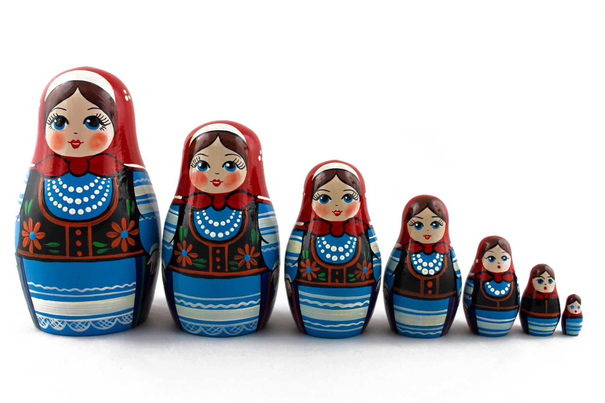 Matryoshka Polish National Dress Babushka Russian Nesting Wooden Stacking Doll 7 Pcs