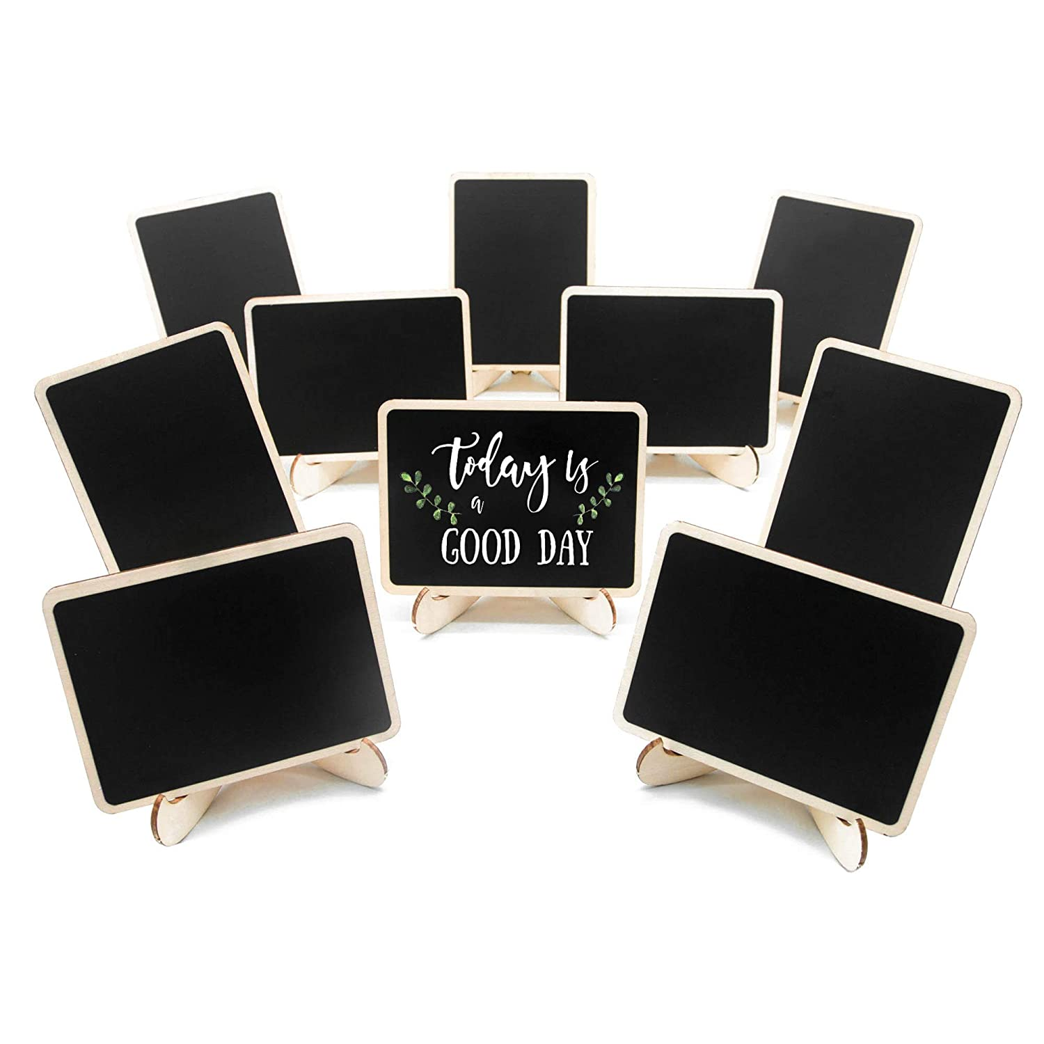 10 Pack Mini Chalkboards Signs with Easel Stand, Small Rectangle Chalkboards Blackboard, Wood Place Cards for Weddings, Birthday Parties, Message Board Signs and Event Decoration Coofficer