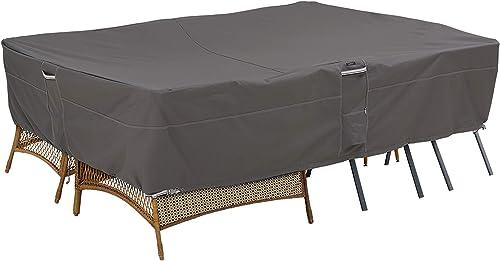 Classic Accessories 55-908-055101-EC Ravenna Water-Resistant 140 Inch General Purpose Patio Furniture Cover,Dark Taupe Mushroom Espresso,140 x 70