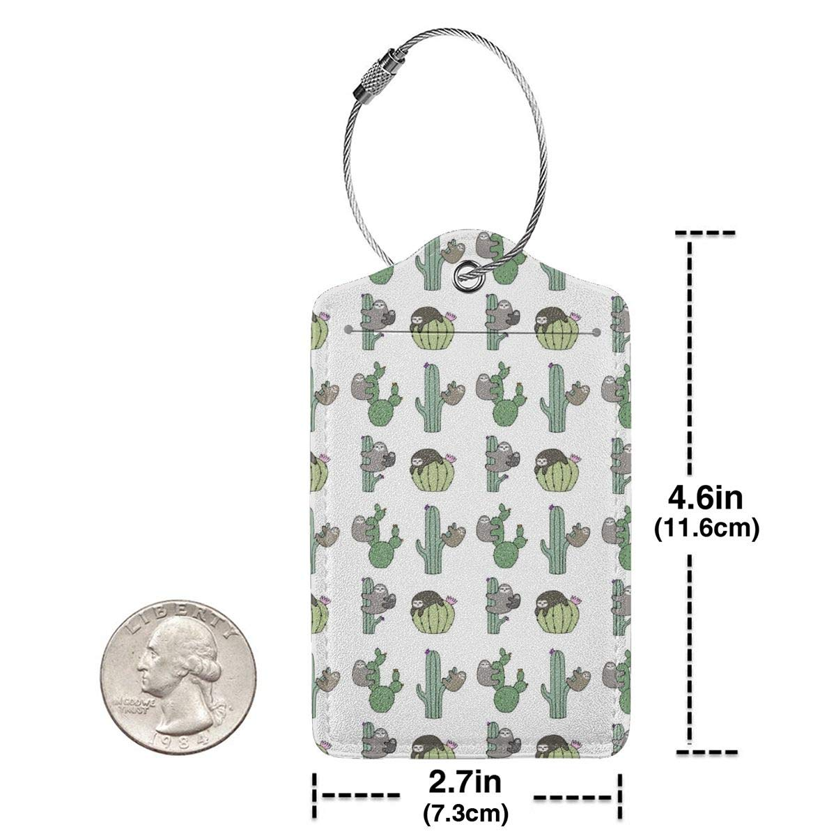 Funny Cactus Sloth Luggage Tag Label Travel Bag Label With Privacy Cover Luggage Tag Leather Personalized Suitcase Tag Travel Accessories