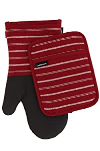 Cuisinart Kitchen Oven Mitt/Glove & Rectangle Potholder with Pocket Set w/Neoprene for Easy Gripping, Heat Resistant up to 500 Degrees F, Twill Stripe- Red Dahlia