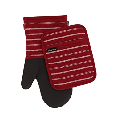 Cuisinart Neoprene Oven Mitts and Potholder Set-Heat Resistant Oven Gloves to Protect Hands and Surfaces with Non-Slip Grip, Hanging Loop-Ideal for Handling Hot Cookware Items, Twill Stripe Red Dahlia