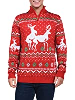 Tipsy Elves Men's Christmas Climax Sweater - Funny Humping Reindeer Ugly Christmas Sweater