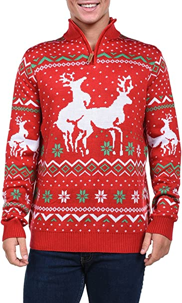 Tipsy Elves Men's Christmas Climax Sweater Funny Humping Reindeer Ugly Christmas Sweater