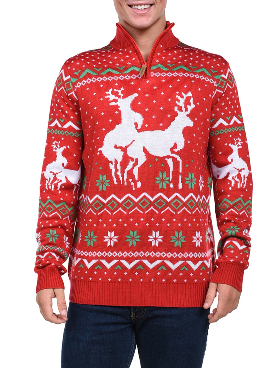 Tipsy Elves Men's Christmas Climax Sweater - Funny Humping Reindeer Ugly Christmas Sweater , Red, Large