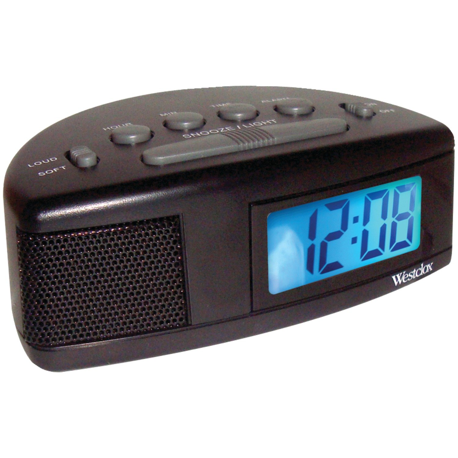 WESTCLOX NYL47547, Super Loud LCD Alarm Clock with Blue Backlight